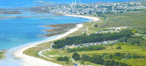 Aerial view on Le Grand Bleu campsite in Brittany