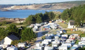 Aerial view to Saint Michel campsite in Erquy
