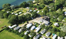 Aerial view on Les Falaises campsite by the sea