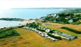 Aerial view to L'Ile Percée campsite in Moelan-sur-Mer