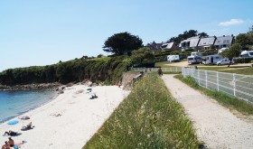 The beach of Port Sable campsite in Arzon, Brittany