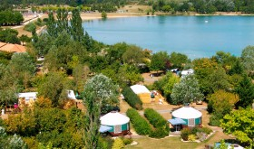 Aerial view of the campsite and the lake
